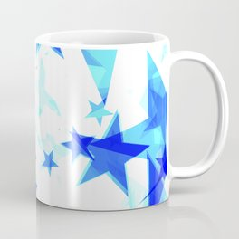 Glowing heavenly and blue stars on a light background in projection and with depth. Coffee Mug