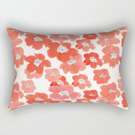 Camellia Flowers in Red Rectangular Pillow