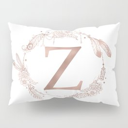 Letter Z Rose Gold Pink Initial Monogram Pillow Sham