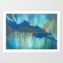 Golden Blue Lines Art Print