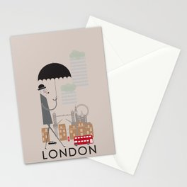 London - In the City - Retro Travel Poster Design Stationery Cards