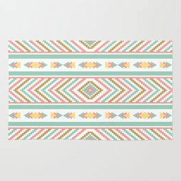 Abstract Tribal Native Geometric Pattern - Bohemian Festival Colorful Rug
