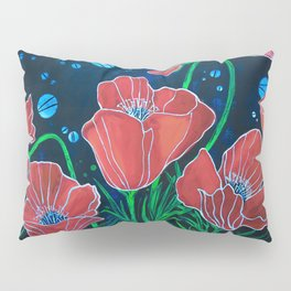 Stylized Red Poppies Pillow Sham
