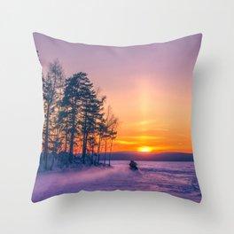 The snow mobile race toward the Sun pillar Throw Pillow