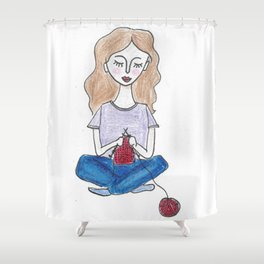 Knitting in color Shower Curtain