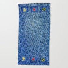 Denim Square Patches Beach Towel