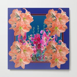 SPRING FLORALS ON ABSTRACT ON DARK BLUE ART Metal Print