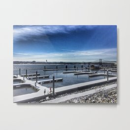 Boat Marina - View of I-74 Bridge Metal Print
