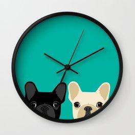 2 French Bulldogs Wall Clock