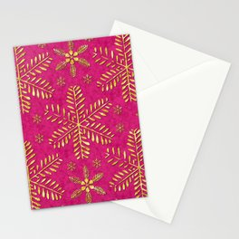 DP044-1 Gold snowflakes on pink Stationery Cards