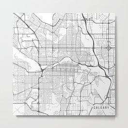 Calgary Map, Canada - Black and White Metal Print
