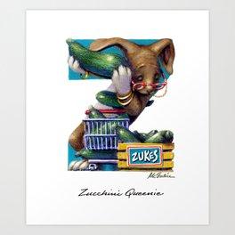 Zucchini Queenie Art Print