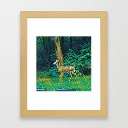The Trees, The Deer, And The Tombstone Framed Art Print