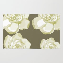 Gray,White Rose background Rug