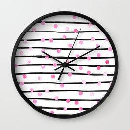 Blush pink black watercolor modern stripes polka dots Wall Clock