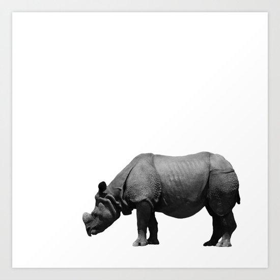 Bored Rhino Art Print