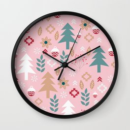 Cute Christmas in pink Wall Clock