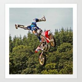 Motocross stuntman Art Print