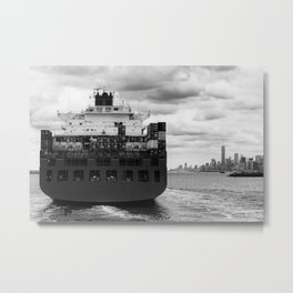 Container ship on East River Metal Print