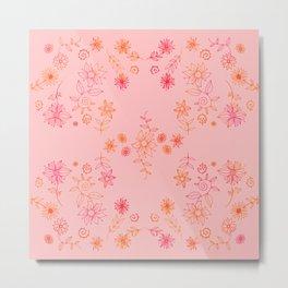 Summer dream flower bed - orange and cerise on rose Metal Print