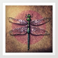 dragonfly Art Prints featuring Dragonfly  by Werk of Art