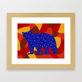 Bear Silhouette with Autumn-Colored Sprinkles Framed Art Print