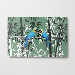Bambus Leaves and blue macaw Metal Print