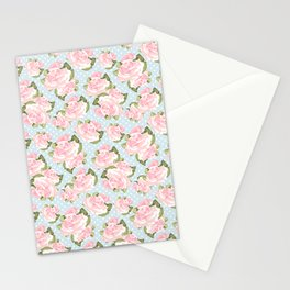 Pink Roses on Blue Polka Dots Stationery Cards