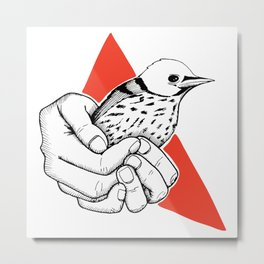 I will protect you hands holding a bird Metal Print