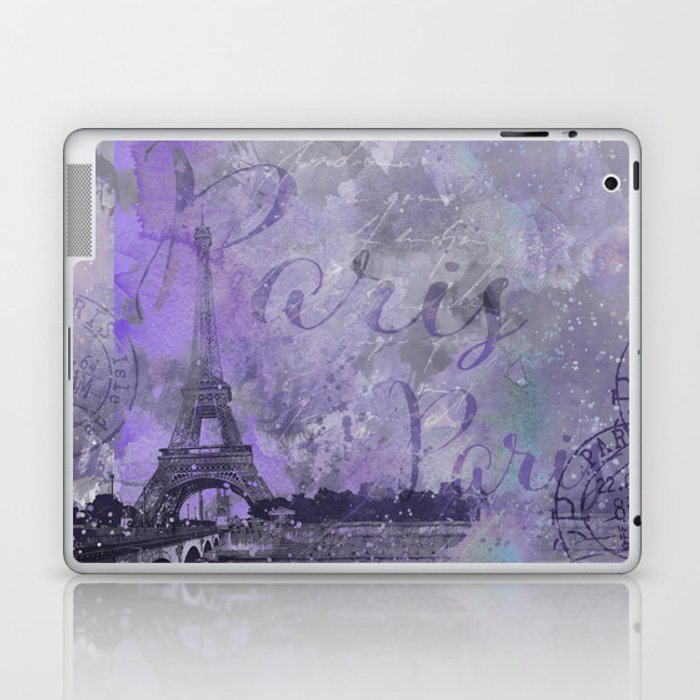 Purple Paris Watercolor Art Laptop & iPad Skin