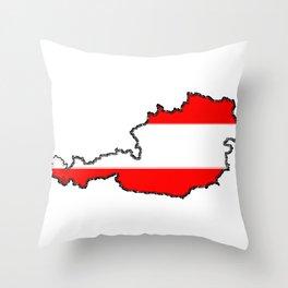 Austria Map with Austrian Flag Throw Pillow