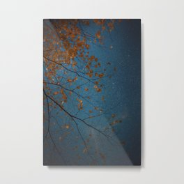 Burnt Orange Leaves on Midnight Blue Sky Metal Print