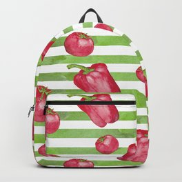 Red Bell Peppers on Green Stripes Backpack