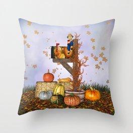 Seasons Mailbox Autumn Throw Pillow