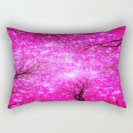 Black Trees Hot Pink Space Rectangular Pillow