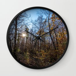 Sunrise in the woods Wall Clock