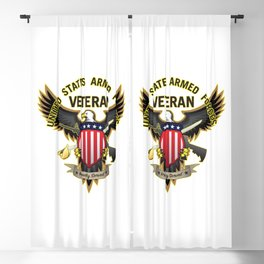 United States Armed Forces Military Veteran - Proudly Served Blackout Curtain