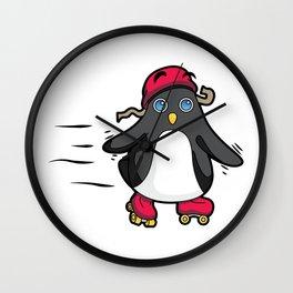 Little Baby Penguin Roller Skate Time! Wall Clock