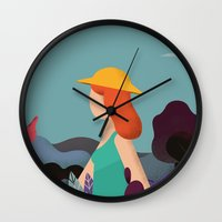 into the wild Wall Clocks featuring Wild by Riccardo Fred Cusimano