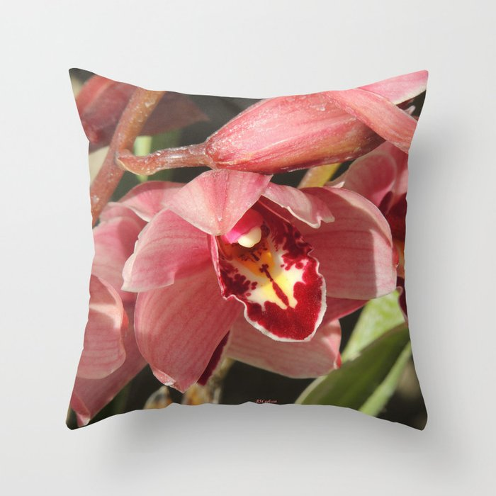 One Orchid on a Line Throw Pillow