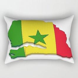 Senegal Map with Senegalese Flag Rectangular Pillow