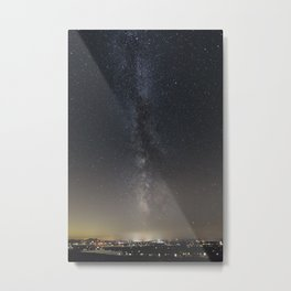 Milky Way Above a Small Lake Town Metal Print