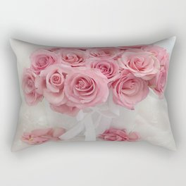 Pink Roses White Roses Shabby Chic Romantic Floral Home Decor Rectangular Pillow