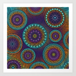 Dot Art Circles Teals and Purples #1 Art Print