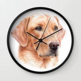Labrador colored pencil drawing Wall Clock