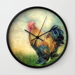 The coloured rooster Wall Clock