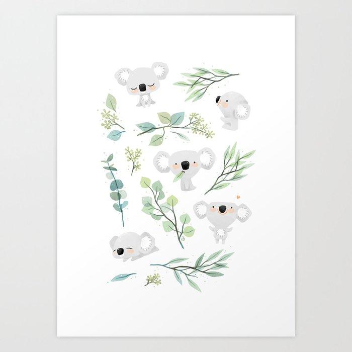 Koala and Eucalyptus Pattern Kunstdrucke