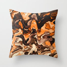 Wavy orange and brown Throw Pillow