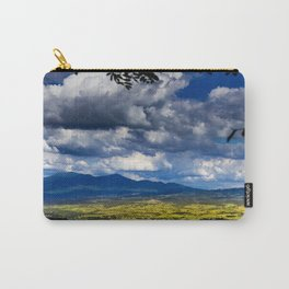 Beautiful rural view of the mountains of Tuscany in Italy. Cultivated grasslands Cloudy sky that let Carry-All Pouch