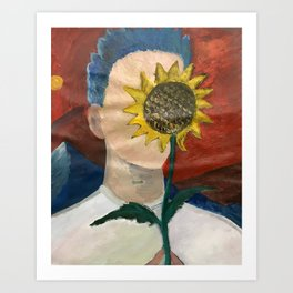 man obscured by sunflower Art Print